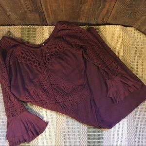 Free People Burgundy Crochet Lace Mini Dress